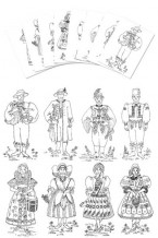 Coloring Pages - Czech Boy & Girl Costumes (gc-103-cp)