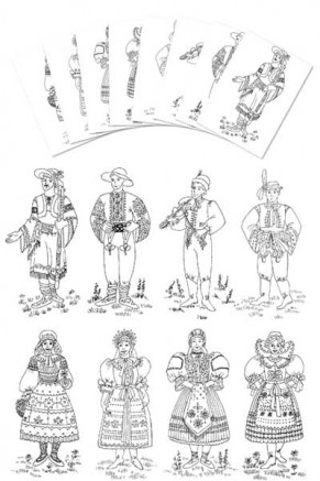 Coloring Pages - Slovak Boy & Girl Costumes (gc-104-cp)