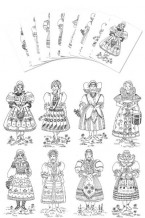 Coloring Pages - Czech & Slovak Girl costumes (gc-105-cp)