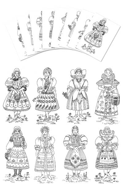 Coloring Pages Czech Amp Slovak Girl Costumes Gc 105 Cp