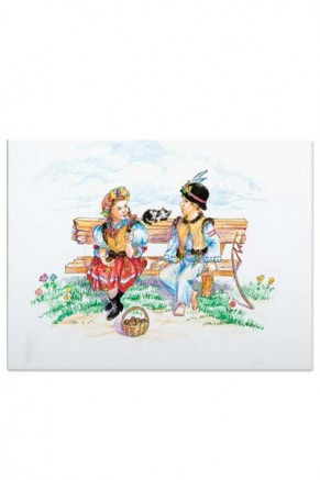 Boy and girl sitting on a bench (gc-023)